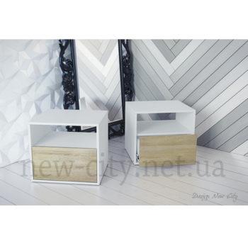 Тумба прикроватная Холи 40-55см Белый/Сонома