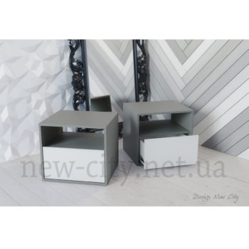 Тумба прикроватная Холи 40-55 см Серый/Белый