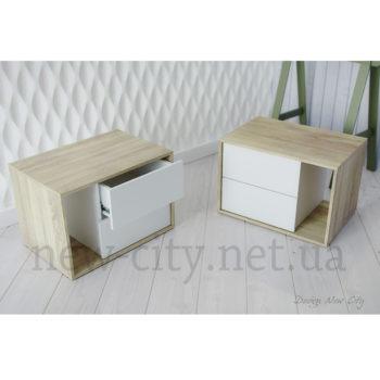 Тумба прикроватная Cube (Куб) 55-65см Сонома/Белый