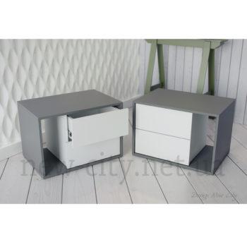 Тумба прикроватная Cube (Куб) 55-65см Серый/Белый