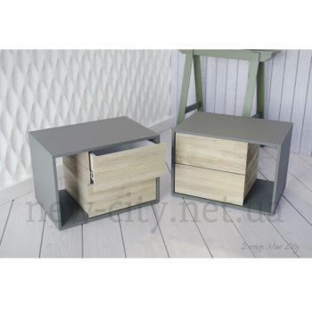 Тумба прикроватная Cube (Куб) 55-65см Серый/Сонома