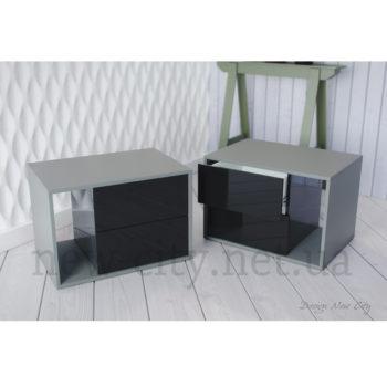 Тумба прикроватная Cube (Куб) 55-65см Серый/Черный глянец