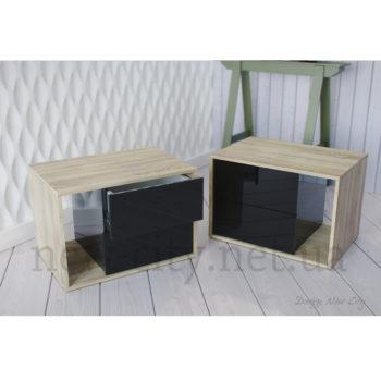 Тумба прикроватная Cube (Куб) 55-65см Сонома/Черный глянец